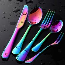 Buyer Star Dream Colorful Flatware Rainbow Cutlery Set Stainless Steel Tableware Dinner Service Knife/Fork/Spoon Mirror Polished