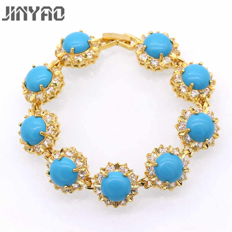 JINYAO Fashion Women Round Blue Stone Zircon Charm Bracelets Bangles Pure Gold Color Party Jewelry Gift For Women