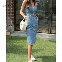LISM Vacation Backless Bow Tie Strap Jeans Dress Women 2019 Korean High Waist Pencil Midi Overalls Female Club Denim Dress