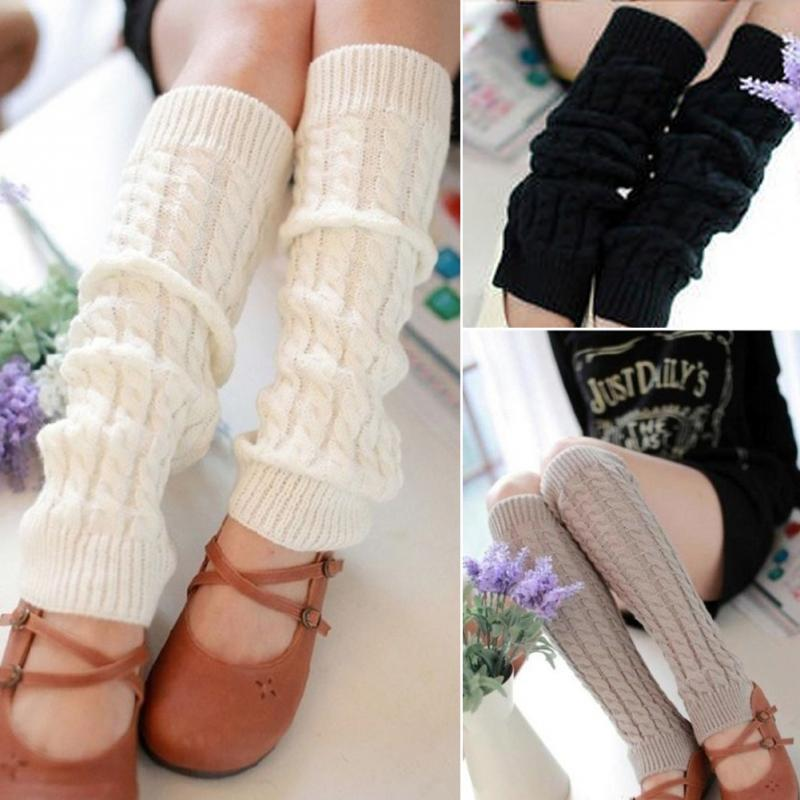 1 par mujeres invierno Calentadores para piernas gaiters knit ...