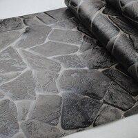 PVC Black 3d Stone Wallpaper For Living Room Bedroom Vinyl Faux Stone Wall Paper Home Decor Roll