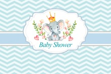 Laeacco Elephant Baby Shower Backdrops For Photography Chevrons Stripes Flower Pattern Photo Backgrounds Photocall Studio