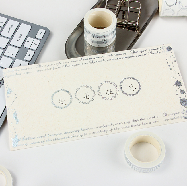 1 Pcs/set Lovely Japan hot silver series and tape stickers star flag hand account European frame 0. 8/1.5/3 cm * 5m