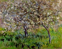 100% handmade Oil Painting Reproduction on linen canvas with museum quality,apple trees in bloom at giverny by Claude Monet