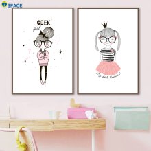 7-Space Geek Girl Posters And Prints Canvas Painting Nordic Poster Wall Art Canvas Wall Pictures For Living Room Quadro Decor geek girl