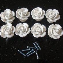Дополнительно белый винтажный цветок розы керамическая дверная ручка ящика шкафа кухонный шкаф вытяжная Ручка DIY HD016