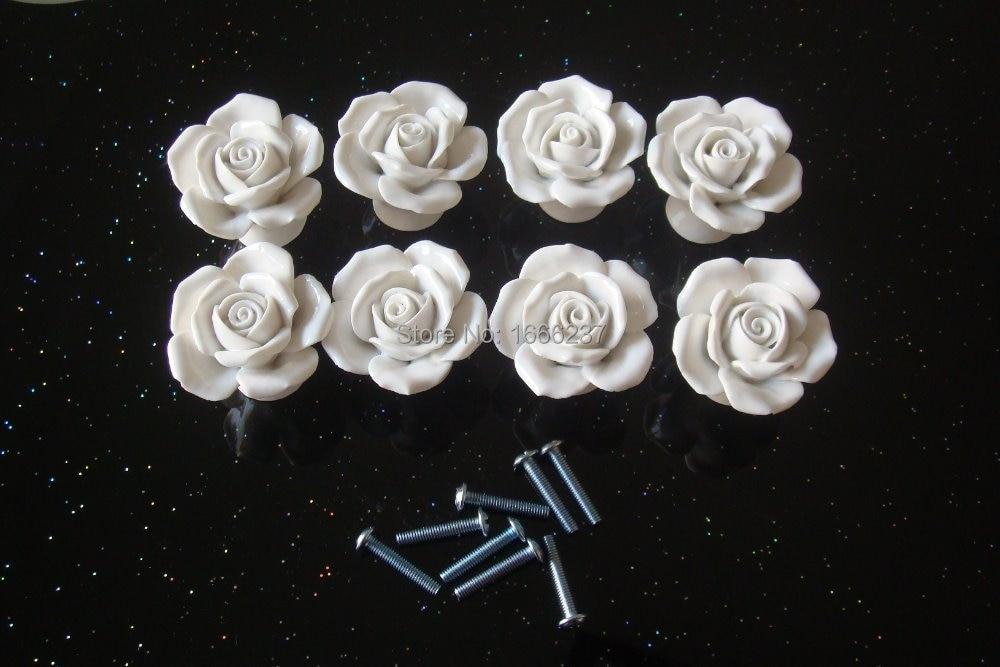 White Ceramic Rose Flower Drawer Knob Pull Classic Round Door Handle 38mm