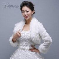Beyaz Fildişi Şal Wrap Faux Fur Eşarp Stoles için Gelinlik Kısa Uzun Kollu Kış Coats ile Düğün Ceket Sarar