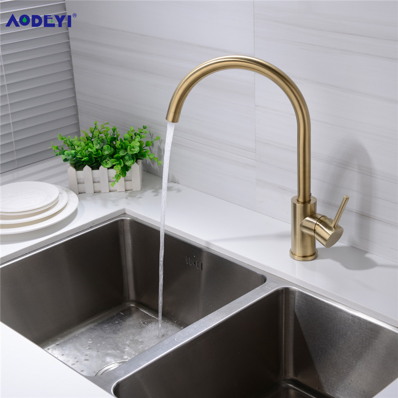 AODEYI Brass Black or Brushed Gold Kitchen Faucet 360 Rotatable Water Mix Basin Sink Taps Single Handle Deck Mounted Aerator Tap