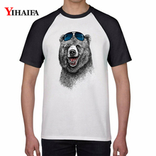 Summer T Shirts Funny Bear 3D Print Animal Graphic Tees Men Women Casual Hip Hop Tee Cotton Tops Unisex Streetwear Top bear print top