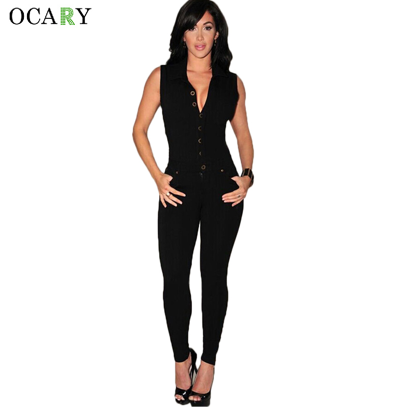 Sexy Ladies Bodycon Jumpsuits Deep V-neck Fashion Club Wear Black Rompers Women Jumpsuit Casual Leotard Combinaison Femme