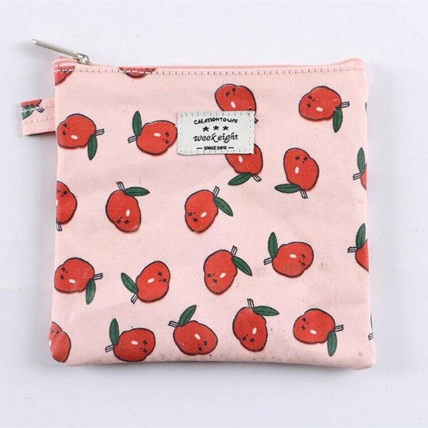 M183 Cotton Canvas Women Purses Creative Sweet Cherry Apple Bread Pizza Small Fresh Lovely Zero Purse Waterproof Sanitary Cotton