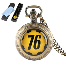 Fashion Theme Game Survive in FALLOUT 76 Quartz Pocket Watch for Men Women Children Fallout 4 Jewelry for Unique Gift with Box