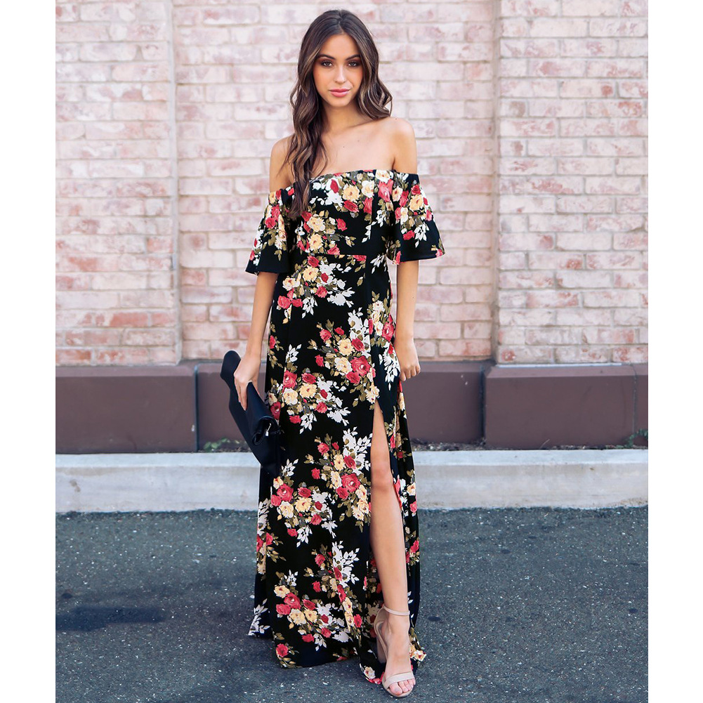 2018 summer New female flower printed dresses leave out shoulder One word collar five-point sleeves elastic waist dress vestidos
