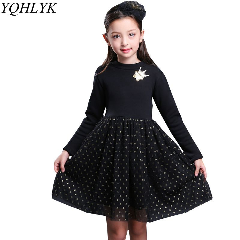 New Fashion Autumn Winter Girl Dress 2018 Korean Children Long-Sleeve Lace Thicken Princess Dress Sweet Casual Kids Clothes W192 сумка дорожная roxy in the clouds anthracite swim belh