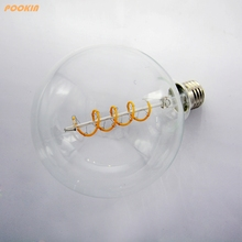 Golden and Clear G125 4W led edison bulb spiral dimmable light retro saving lamp  vintage led filament bulb
