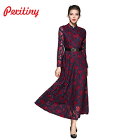 Peritiny High End Design Long Dress 2017 Winter Vestido Women Clothes Full Sleeve Stand Neck Wine