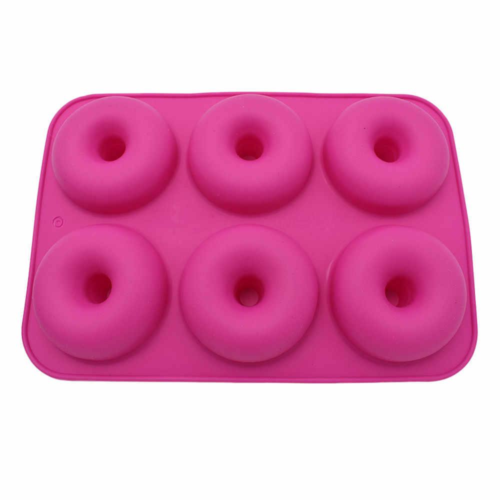 6-rongga Silikon Donat Baking Pan Non-stick Cetakan Mesin Pencuci Piring Dekorasi Tools Jelly dan Permen 3D Cetakan DIY terbaik DROP Shipping # O