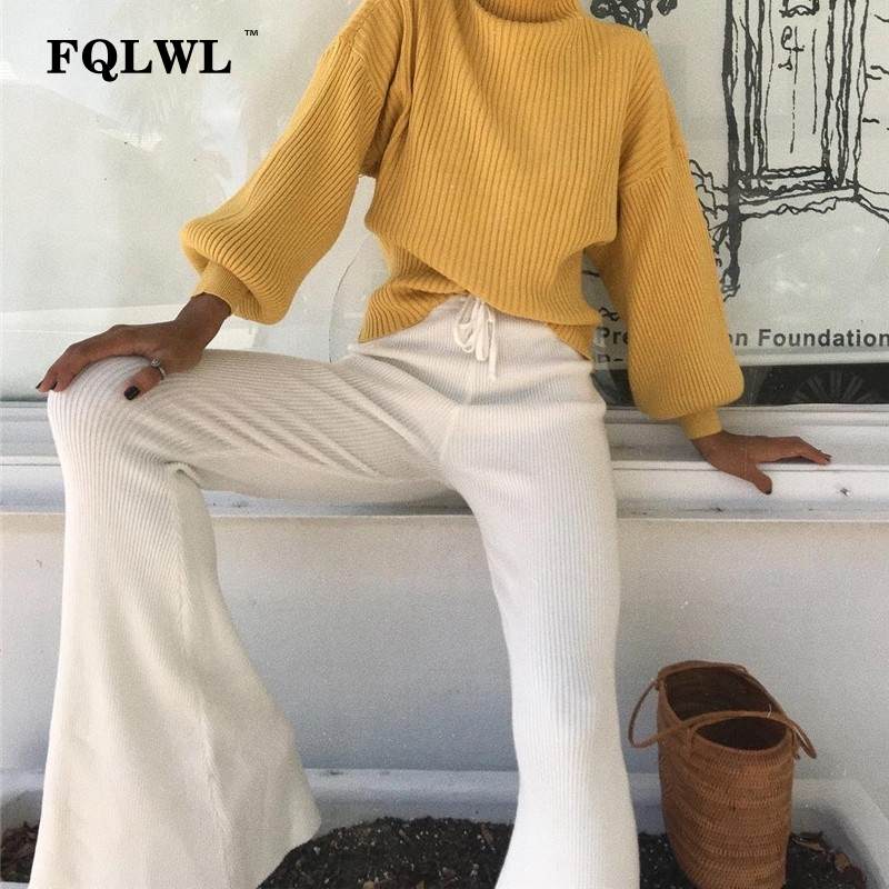 FQLWL Casual Knitted Wide Leg Pants Woman Trousers Broeken White/Elastic/High Waist/Flare Pants Female Autumn Winter Women Pants
