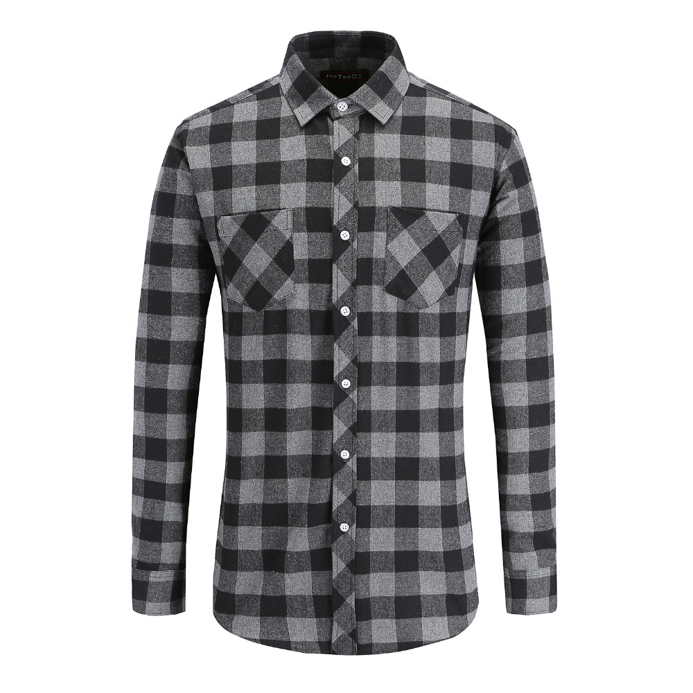 Jeetoo European/US Size Men Flannel Plaid Shirts 100% Cotton 2020 Casual Long Sleeve Shirt Warm Comfort Regular Fit Man Blouse