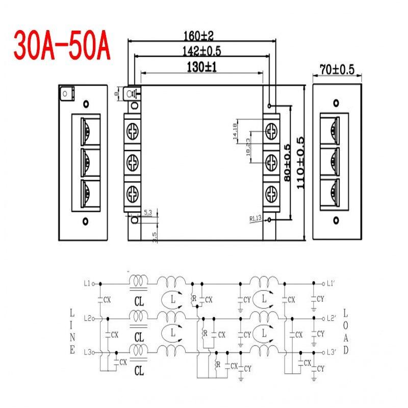 EMI anti jamming 380 V presa di filtro depuratore filtro di potenza trifase tre linee industriale CCR - 2