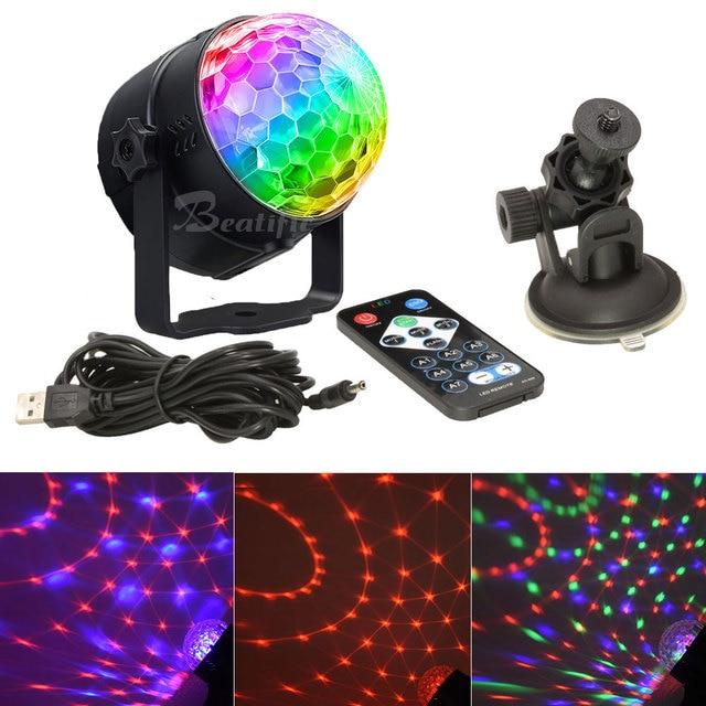 Lampe disco RGB boule magique LED, éclairage décoratif de scène, USB, Center de musique pour la maison, éclairage de scène, Stroboscopes et son fête
