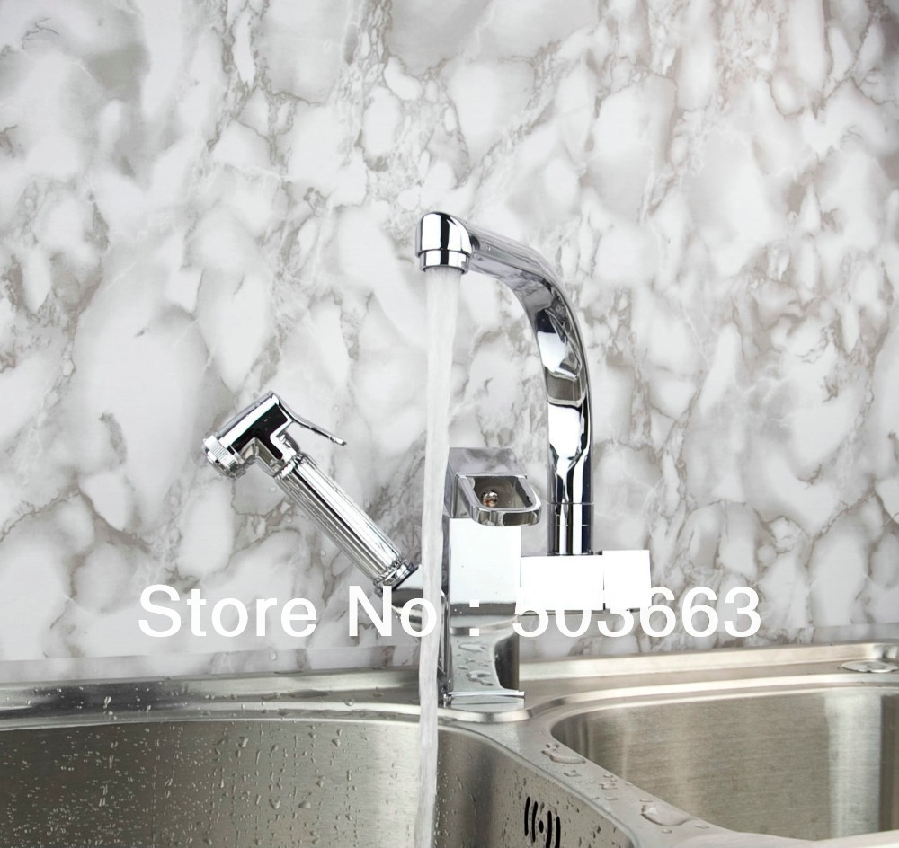 New Wholesale Kitchen Polished Pull Out Spray Swivel Basin Sink Vessel Faucet Vanity Faucet Brass Mixer Tap Chrome Crane S-802 wholesale and retail chrome finished pull out sink kitchen faucet swivel vessel sink mixer tap pull out crane kitchen mixer mjh8