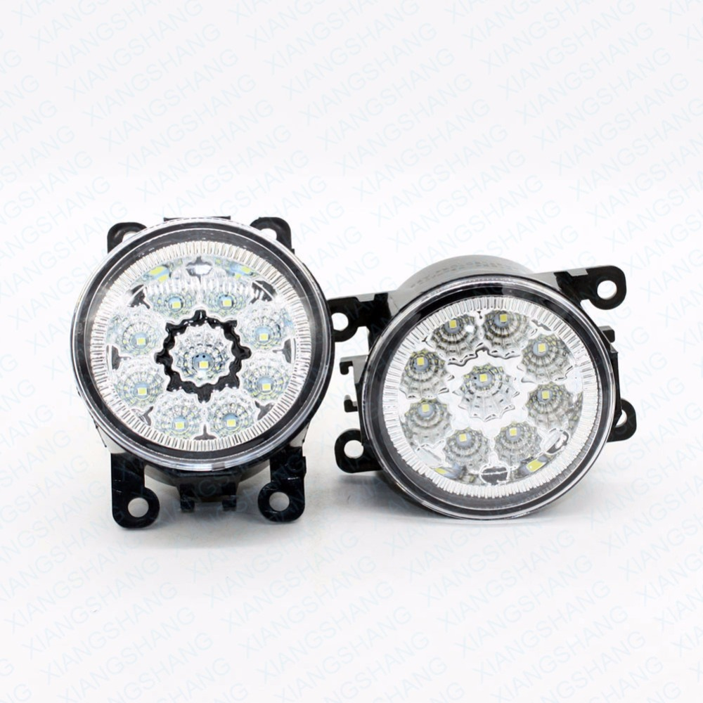 2pcs Car Styling Round Front Bumper LED Fog Lights DRL Daytime Running Driving For Renault THALIA Saloon LB0 LB1 LB2 1998-2013 led front fog lights for land rover freelander 2 lr2 06 14 car styling round bumper drl daytime running driving fog lamps