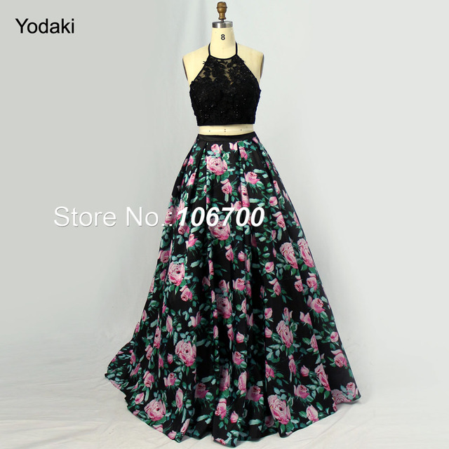 Beautiful Print Ballgown Prom Dresses Halter Black Beaded Top Off ...