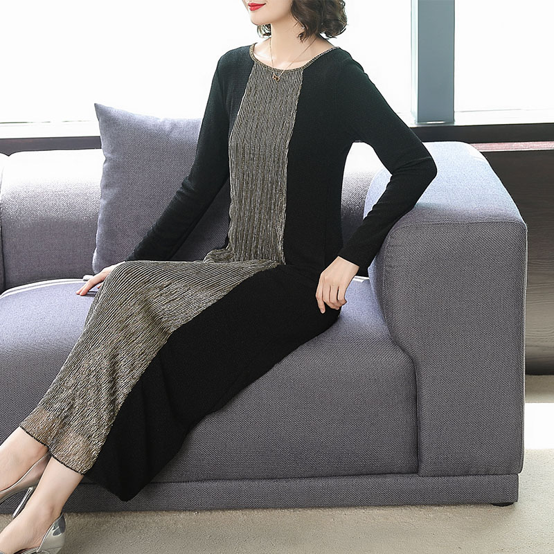 Contrast Color Stitching Bright Mesh Long Sleeve Loose Round Neck Ankle Length Dress Women Autumn Fashion New Official Lady
