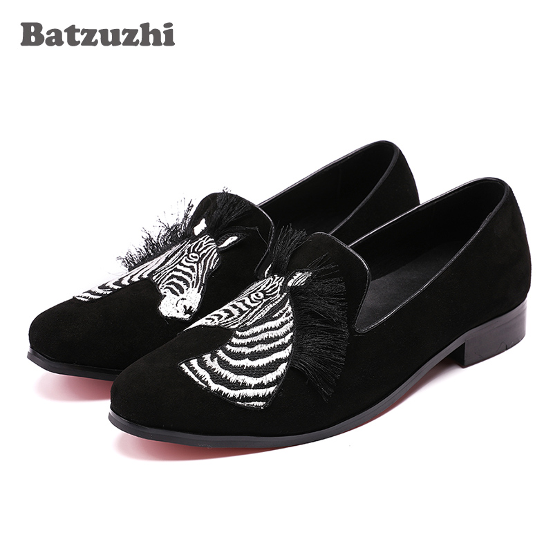 Batzuzhi Fashion Men Party and Wedding Handmade Loafers Men Shoes with Horse Black Suede Men Casual Leather Shoes Man , 38-46 brand new men genuine leather flats man casual shoes loafers cow suede leather weddng party black handmade formal shoe d966 3