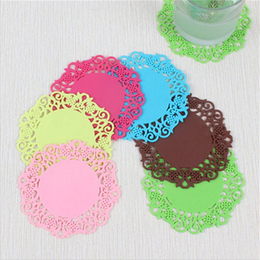 2018  Lace Flower Doilies Silicone Coaster Tea Cup Mats Pad Insulation Placemat LAU JA16 woven vinyl non slip insulation placemat washable table mats