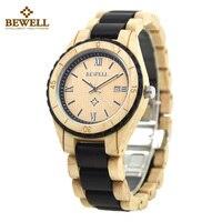 BEWELL Wood Watch Men Fashion Casual Watch Auto Date Display Men Quartz Watch Ligthweight Roud Male