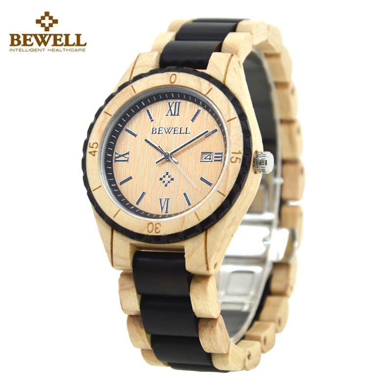 цена на BEWELL Wood Watch Men Fashion Casual Watch Auto Date Display Men Quartz Watch With Ebony Handmade Male Clock relogio masculino