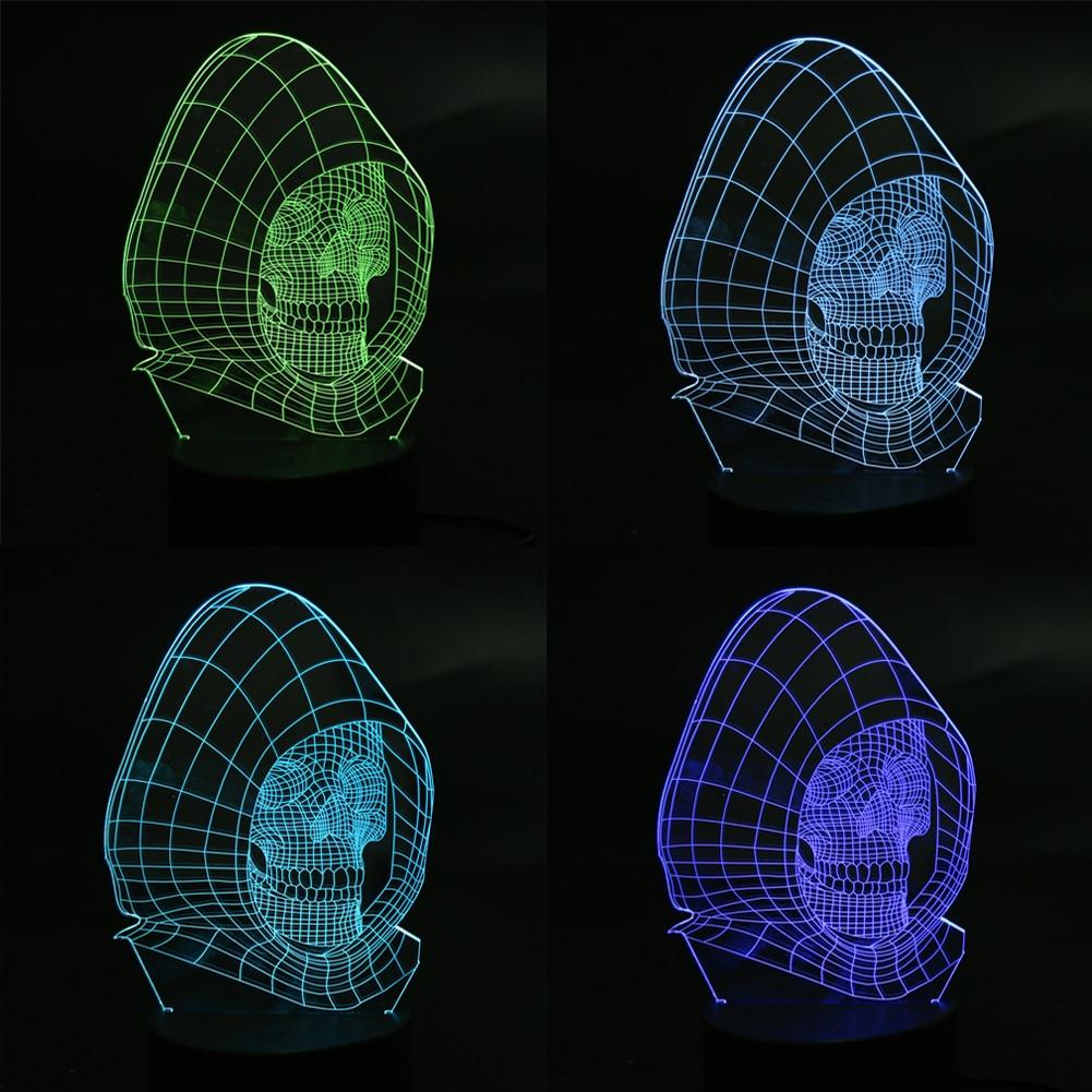 3D LED Color Night Ligh Changing Lamp Punisher Skull Multi-colored Bulbing Light Acrylic 3D Hologram Illusion Desk Lamp For Kids