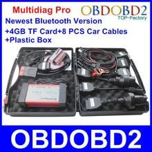 Venta caliente TCS CDP Multidiag Pro Herramienta de Diagnóstico Para Los Coches camiones de 4 GB Tf + 8 UNIDS Cables Del Coche + Caja De Plástico Bluetooth Más Nuevo 2014 R3