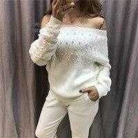 2019 полный срок годности женские кашемировый костюм тяжелая работа бисерная вязаная мода слово воротник свитер брюки два комплекта теплых ж