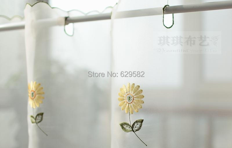 fashion daisy semi shade coffee kitchen curtain flowers short