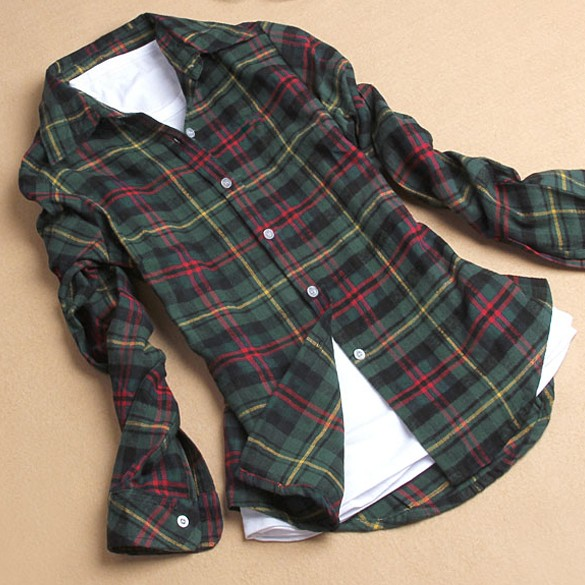 2017 Plus Size Women Cotton Flannel Plaid Shirt Female Student Women s Long Sleeve Basic Flannel