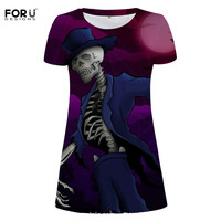 FORUDESIGNS Dress Short Sleeves Women S Skirt Under Knee 3D Print Skeleton Cool Female Clothes M