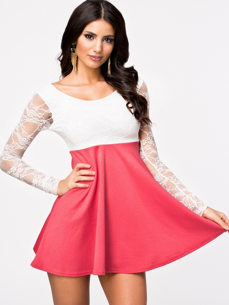 Women Casual Dress High Waist Bodycon Clubwear Sexy Dress Pink White Patchwork Long Sleeve Lace Winter Dress