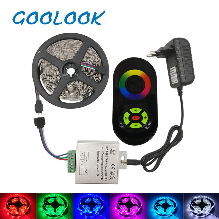 5M 10M LED Strip Light 5050 2835 Diode LED Tape RGB LED Strip Waterproof DC 12V Flexible LED Ribbon RF Touch control Adapter set