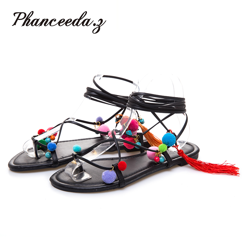New 2017 Shoes Women Sandals Summer Style Cover Heel Flats shoes Sexy String Bead Solid Slippers Fashion Cross Tied S  poadisfoo 2017 new summer style slip on women sandals flats for women black white color slippers shoes women hykl 1603