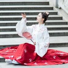 Hanfu เครื่องแต่งกายเต้นรำเย็บปักถักร้อย Tang Dynasty Princess Dancewear จีนแบบดั้งเดิมพื้นบ้านโบราณเสื้อผ้า Hanfu ชุดชุดเวที