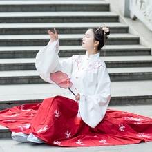 Hanfu Tanz Kostüm Stickerei Tang dynastie Prinzessin Dancewear Chinesischen Traditionellen Alte Folk Kleidung Hanfu Outfit Bühne Kleid