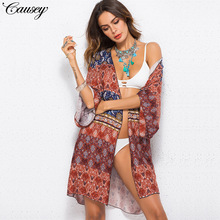 Bikini Cover Up Beach Dress Swimwear Female 2019 Wear For Women Sexy Bathing Suits Originality New Long Sleeve Printed Acetate