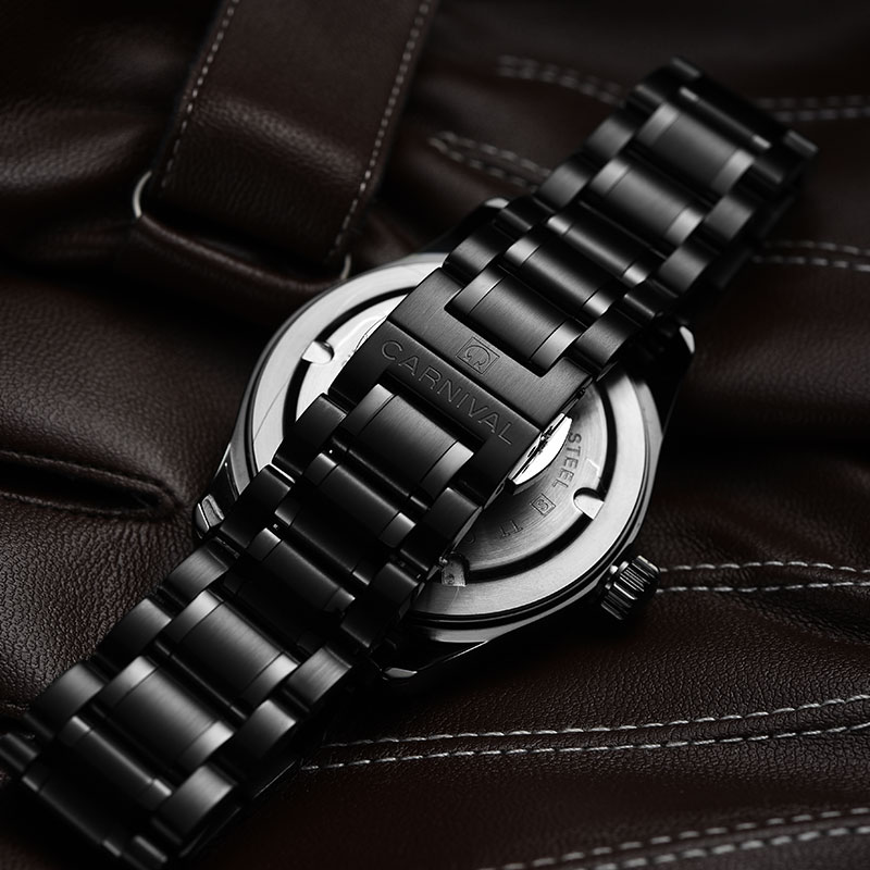 Carnival New T25 Tritium Luminous Quartz Watch Men Full Steel Black Watches Mens Clock Army Man Sport Wristwatch erkek kol saati - 6