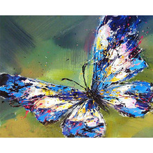 40X50cm frameless colorful butterfly animal DIY canvas oil painting digital picture artwork composed of home wall