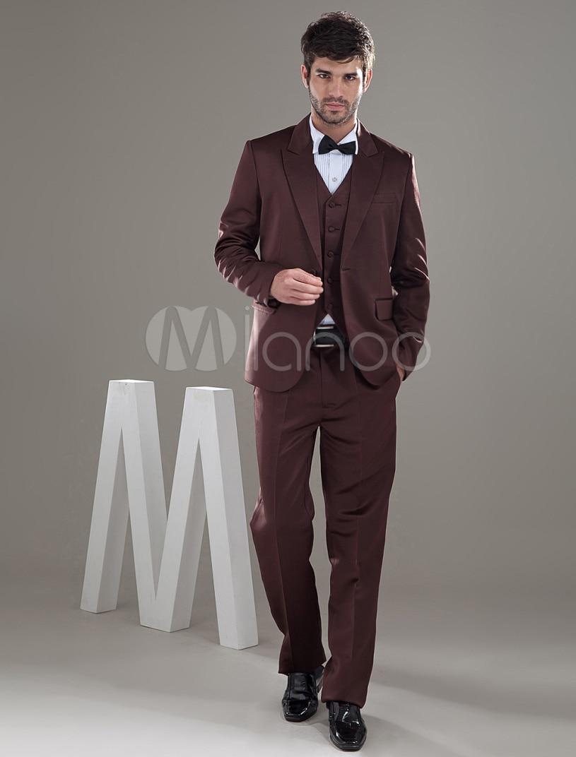 2017 Latest Coat Pant Designs Brown Men Suit Slim Fit 3 Piece Tuxedo Prom Style Suits Jacket Custom Groom Blazer Terno Masculino