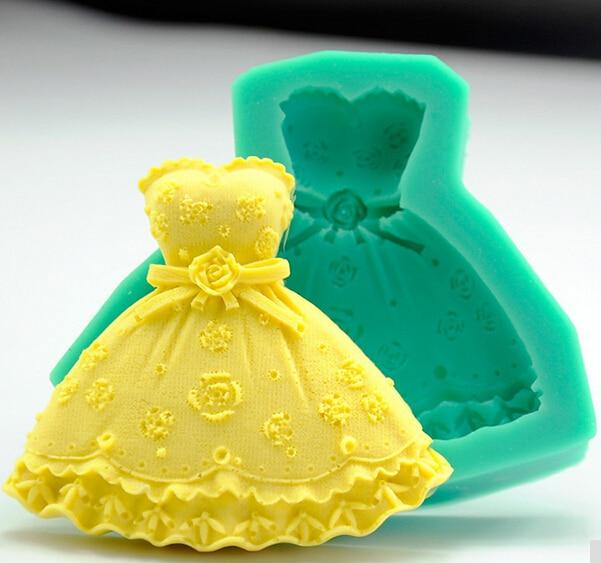Wholesale Siliocne mold K1314 Mini Wedding dress shape Decoration ...